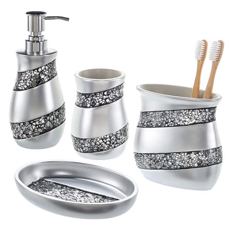 Creative Scents 4 Piece Mosaic Glass Bathroom Accessory Bathroom Accessories Sets