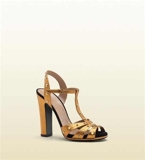 gold sandals high heels gucci jacquelyne studded strappy high heel platform sandal