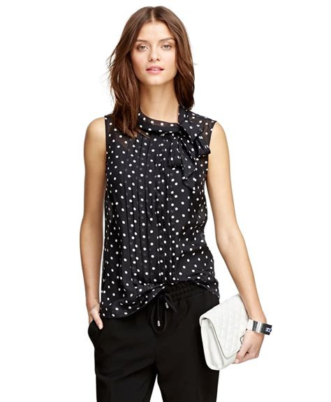Blouse Atasan Polkadot s silk chiffon sleeveless polka dot blouse brothers