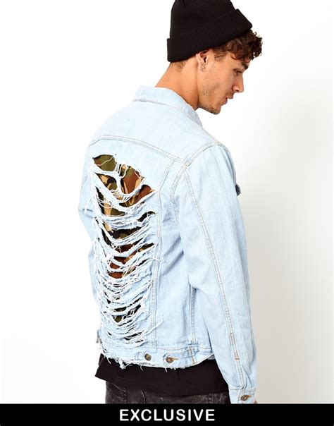 01 Jaket Ripped oem high quality ripped distressed denim jacket for