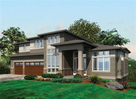 modern houses plans contemporary prairie with daylight basement 69105am