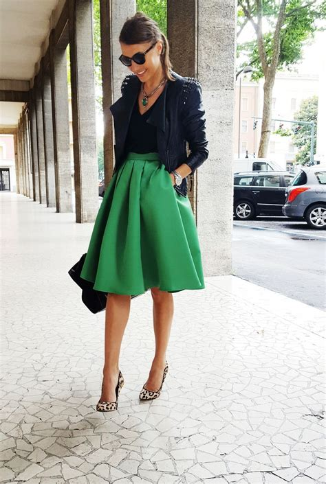 Fashion Goes Green by Midi Green Skirt Leo Shoes Steve Madden Leather Jacket