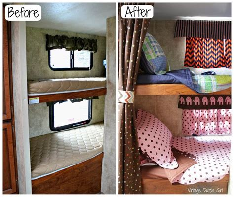 rv bunk bed sheets travel trailer makeover part 9 bunk beds and windows