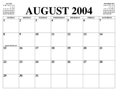august  calendar   month  printable august calendar   year agenda