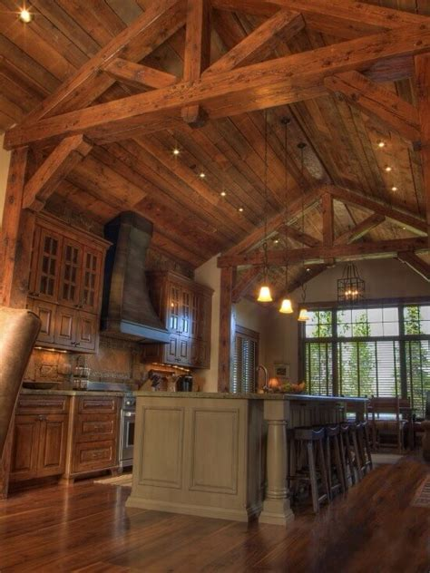 Log Home Lighting Design | 27 quaint rustic kitchen designs tons of variety