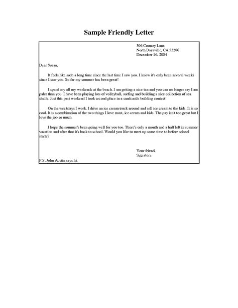 Format For A Friendly Letter Template Writing A Friendly Letter Format Best Template Collection