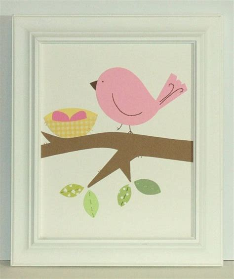 Bird Decor For Nursery Bird Nursery Decor 8 X 10 Sewn Paper Collage Penelope Bird Wall For Pink