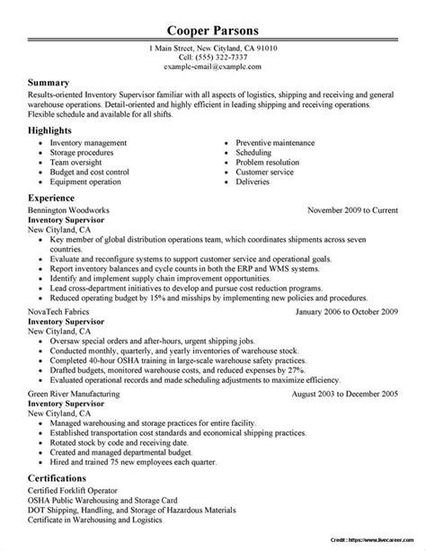 resume sample production supervisor manager