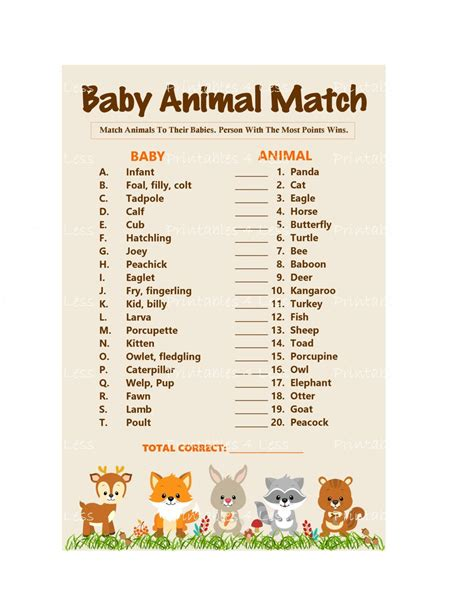 Name The Baby Animal Baby Shower by Woodland Baby Animal Match Baby Animals Name Printable