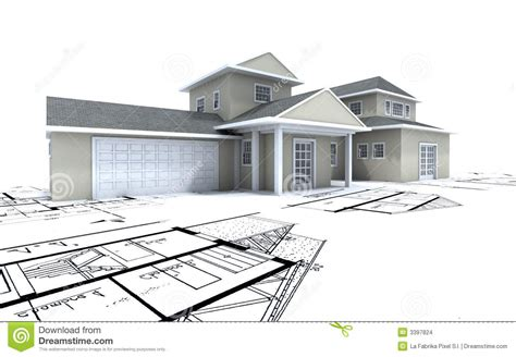 Blue Prints For Houses Expensive House With Garage On Stock Images Image 3397824