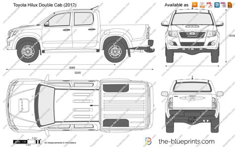 Toyota Hilux Bed Size The Blueprints Vector Drawing Toyota Hilux Cab
