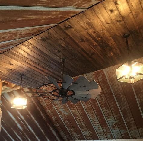 small rustic ceiling fans rustic barn tin ceiling with windmill ceiling fan our