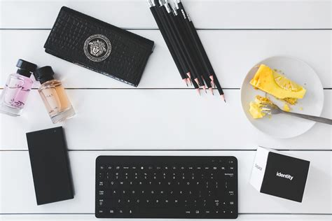 Top view of desk with copy space · Free Stock Photo