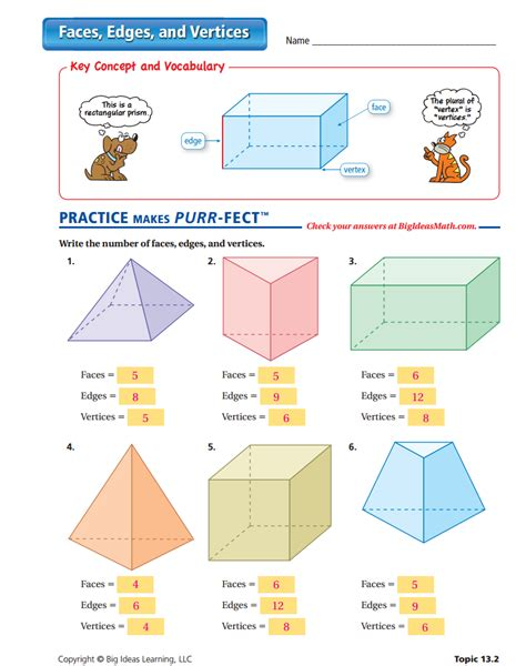 printable math worksheets faces edges and vertices faces edges and vertices worksheet worksheets
