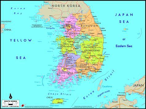 korean map south korea political wall map maps