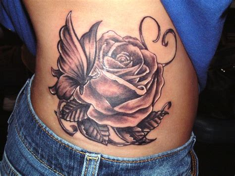 side tattoo roses images designs