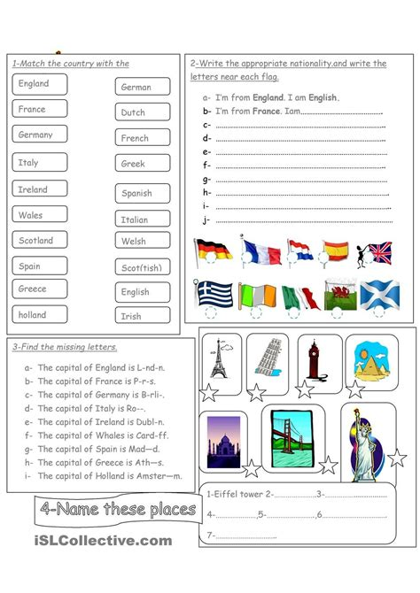 flags of the world exercise countries nationalities flags capital cities and famous