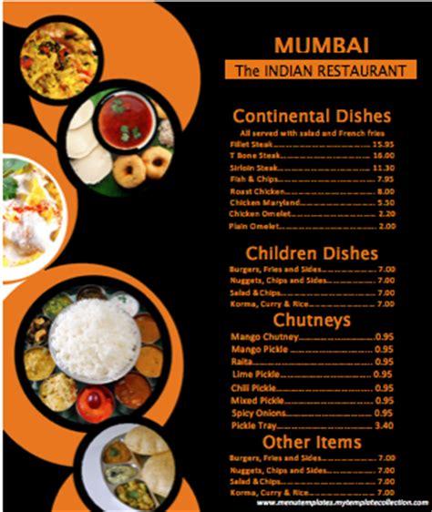 indian menu template word templates