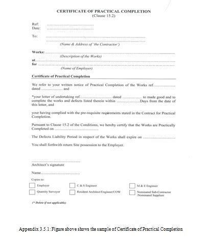 certificate of practical completion template practical completion certificate template uk certificate
