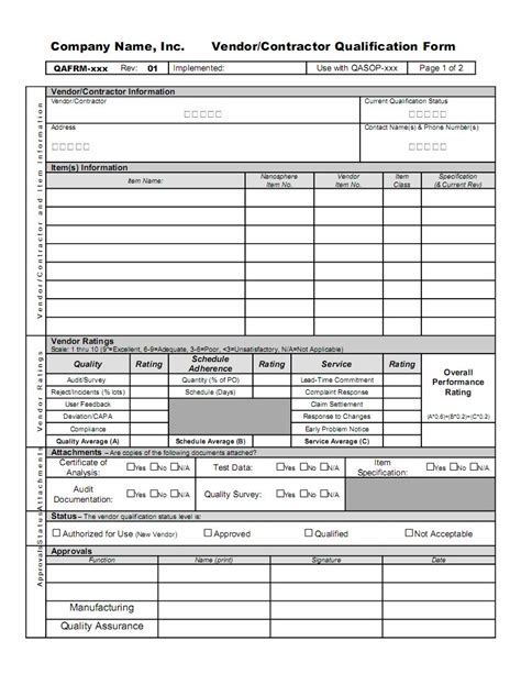 vendor qualification form template vendor and contractor operation qualification gmpdocs