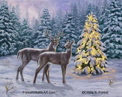 forest original christmas tree whitetail buck and doe by a tree in snow original artwork by crista s forest