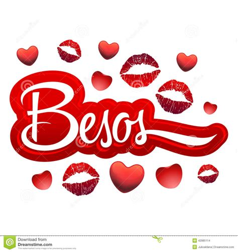 besos kisses spanish text red lips icon stock