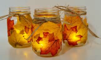 Autumn leaf mason jar candle holder i love the little electric