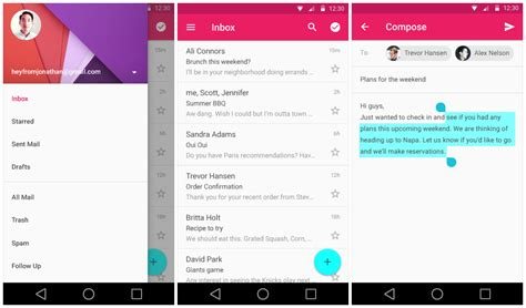 android gmail sneak peek at android l s redesigned settings gmail calendar and lots more gallery