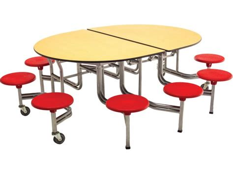 Cafeteria Tables With Stools by Amtab Mobile Oval Cafeteria Table 10 Stools Aos 610