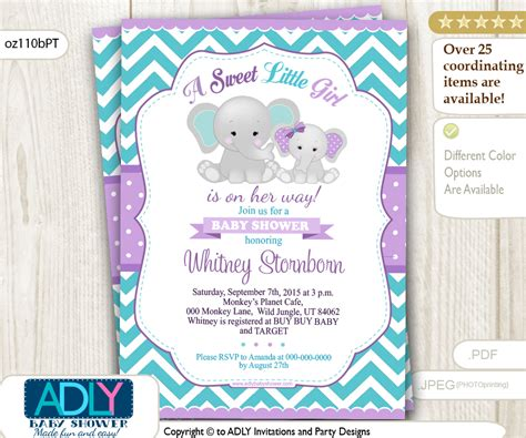 Baby Shower Invi by Purple Teal Grey Elephant And Baby Shower Invi