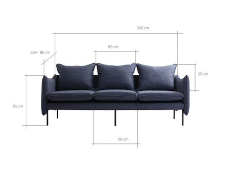 Island Modern 3 Seater Sofa With Metal Legs   Blue