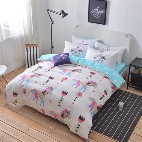 twin size bed sheets 100 cotton unicorn bedding set queen twin double size duvet cover light blue bed