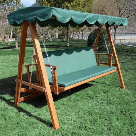 Patio Swing Green Outsunny Wooden Garden 3 Seater Outdoor Swing Chair Green