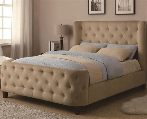 light brown velvet upholstered bed frame with curved