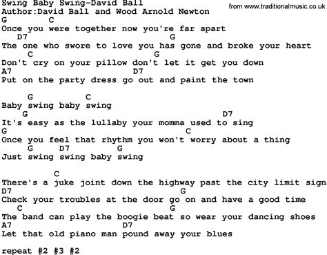 swing lyrics country swing baby swing david lyrics and chords