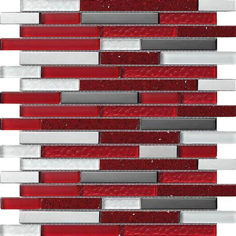 Red, White, Grey & Chrome Rectangular Mosaic Tiles in