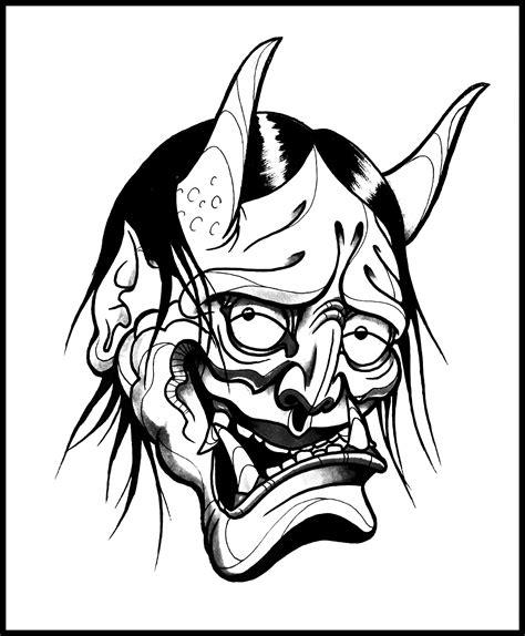 Masker Line hannya mask line drawing