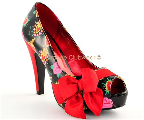heart patterned heels pinup womens sexy valentine heart print bow pumps retro