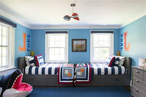 red white and blue sports themed boys room interior navy bedroom kids transitional with blue and red boys room