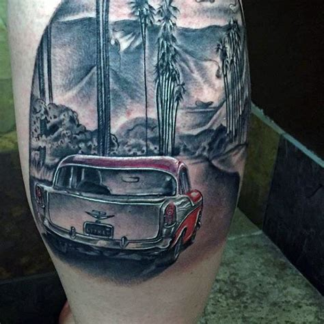 old car tattoo designs realistic looking colored classic car on leg