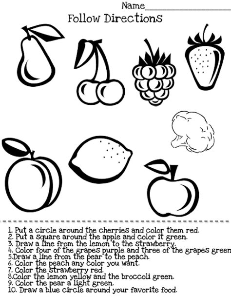 free printable following directions activities free following directions for kindergarten worksheets