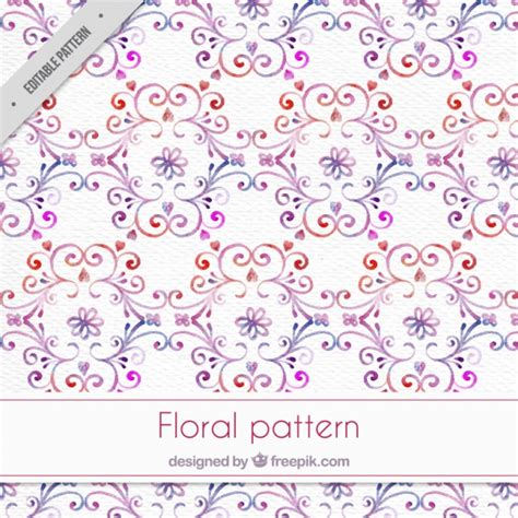 watercolor floral pattern vector free download watercolor ornamental pattern with floral details vector