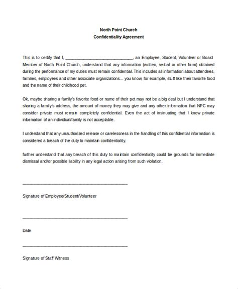 confidentiality statement template church confidentiality agreement 9 free word pdf