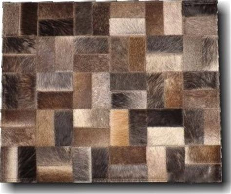 Cow Patchwork Rug - patchwork leather rug cow hide square mosaic leather