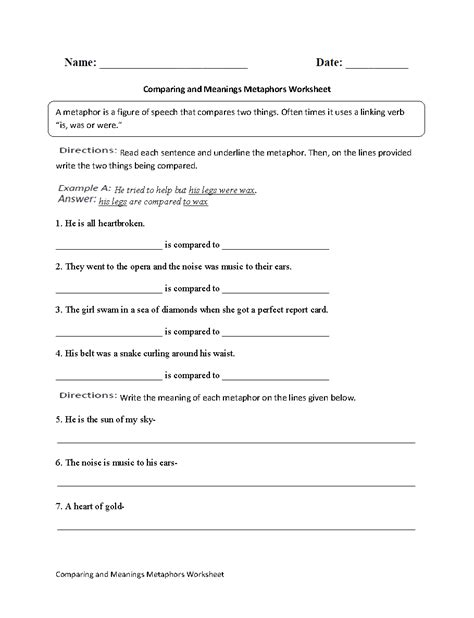 Simile And Metaphor Worksheet For Middle School by 19 Best Images Of Metaphor Worksheet High School Simile
