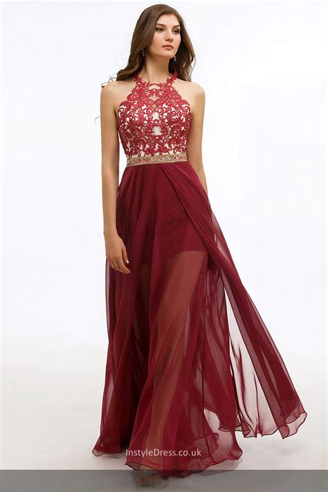 Prom Wedding Dresses Uk by A Line Floor Length Chiffon Lace Appliqued Formal Evening