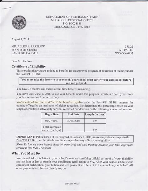 Va Loan Qualification Letter Gi Bill Eligibility Letter Articleezinedirectory