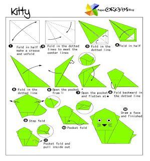Origami Kitten - animals origami paper origami guide