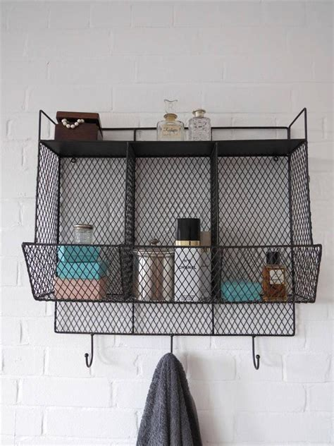 Metal Bathroom Shelves Bathroom Metal Wire Wall Rack Shelving Display Shelf Industrial Storage Black Ebay