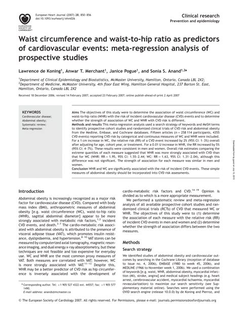 Literature Review Of Regression Analysis by Waist Circumference And Waist To Hip Ratio As Predictors Of Cardiovascular Events Meta